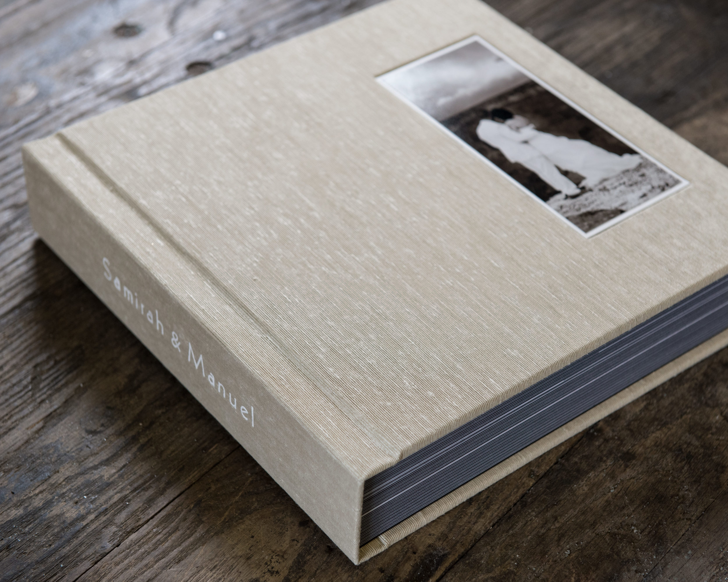 Cover Photo With White Liner In Custom Right Side Mounted Position And Non Gilded Square Cornered Pages | © Jared Platt