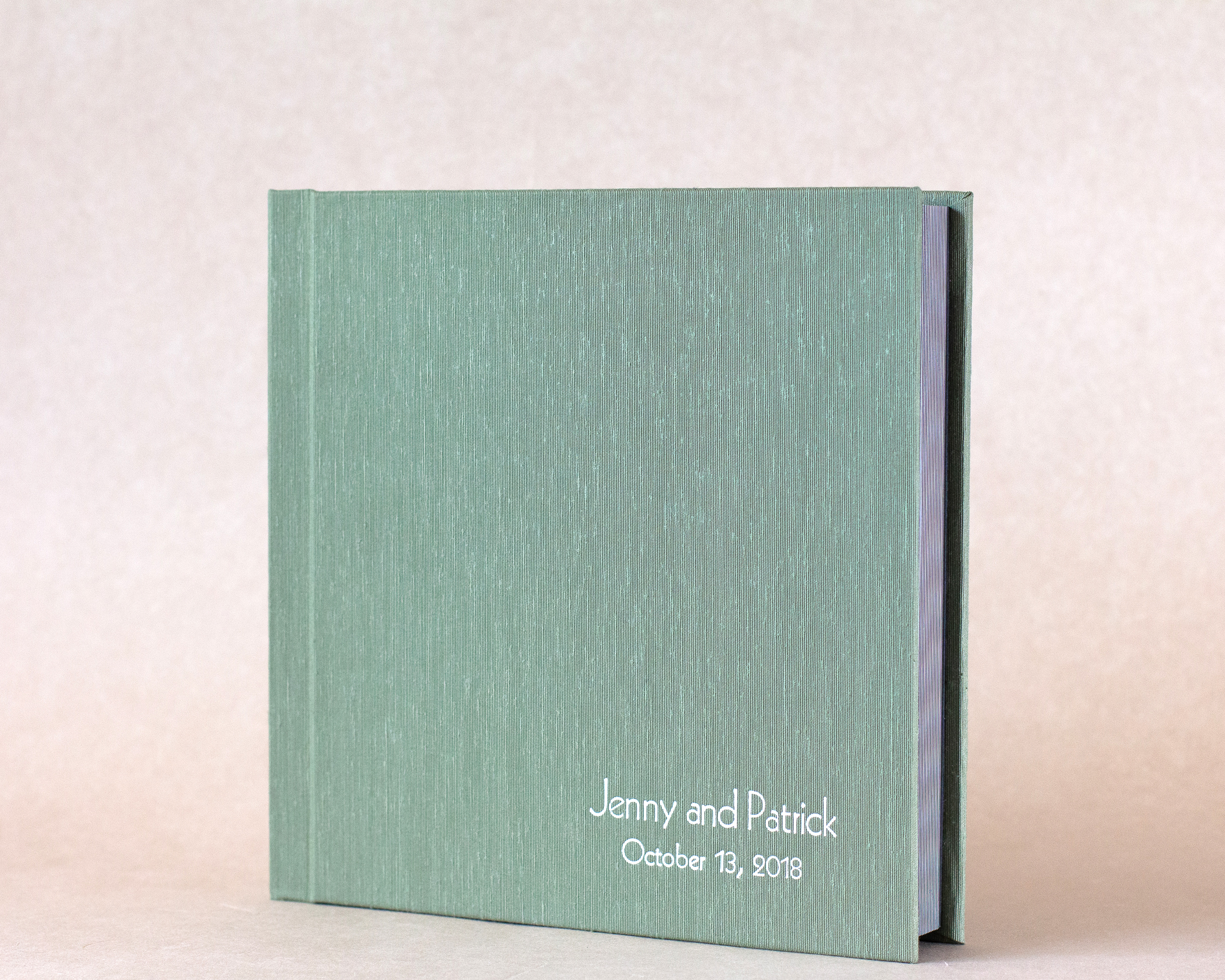 Sage Japanese Book Cloth with White Foil Imprinting
