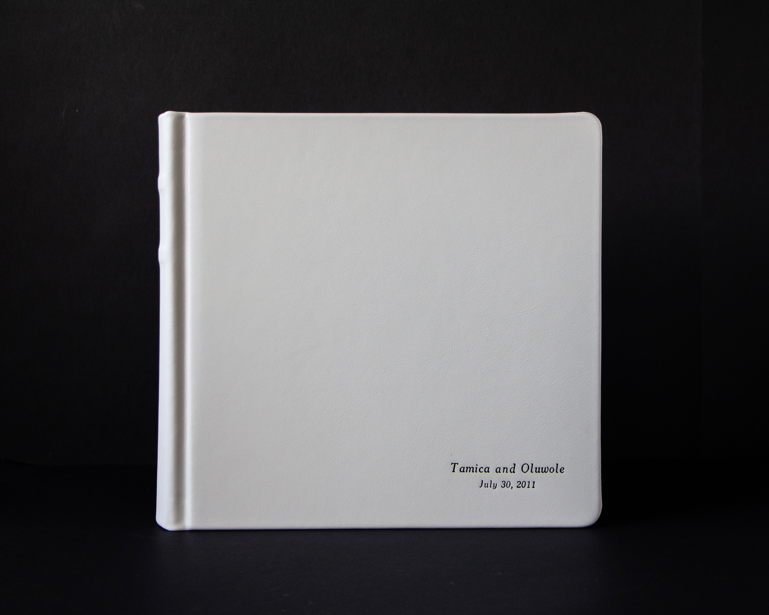 10x10 800 Matted Album with Two Lines of Italic Imprinting in Silver in Lower Right