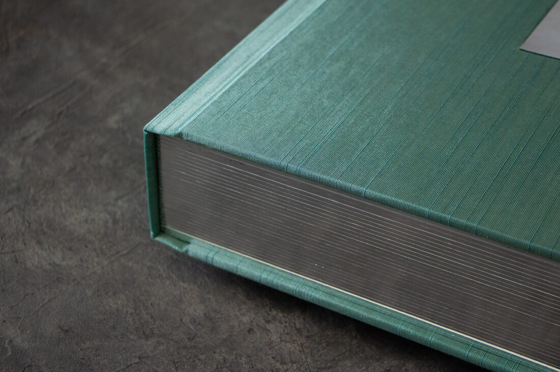 Aqua Japanese Book Cloth Cover With Black Gilded Pages